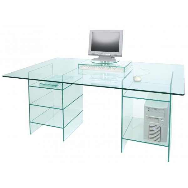 Mesa escritorio en cristal templado - Mesas de estudio de cristal ...